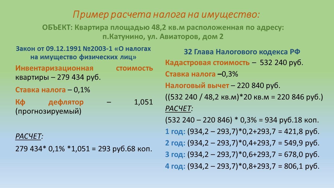 величина налога на недвижимость в 2018 году